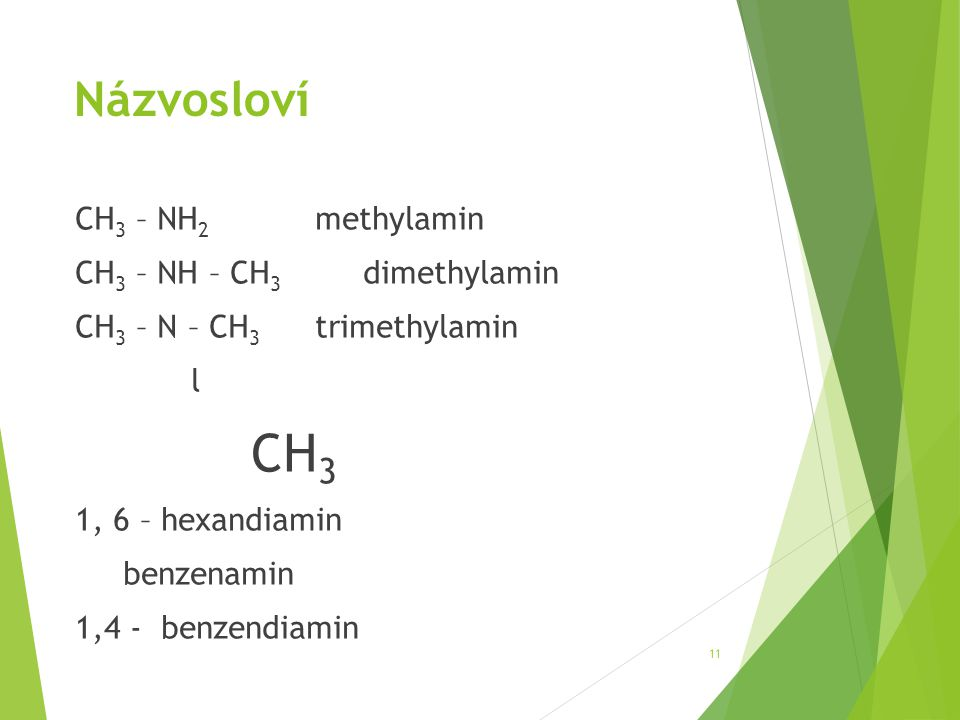 CH3 Názvosloví CH3 – NH2 methylamin CH3 – NH – CH3 dimethylamin