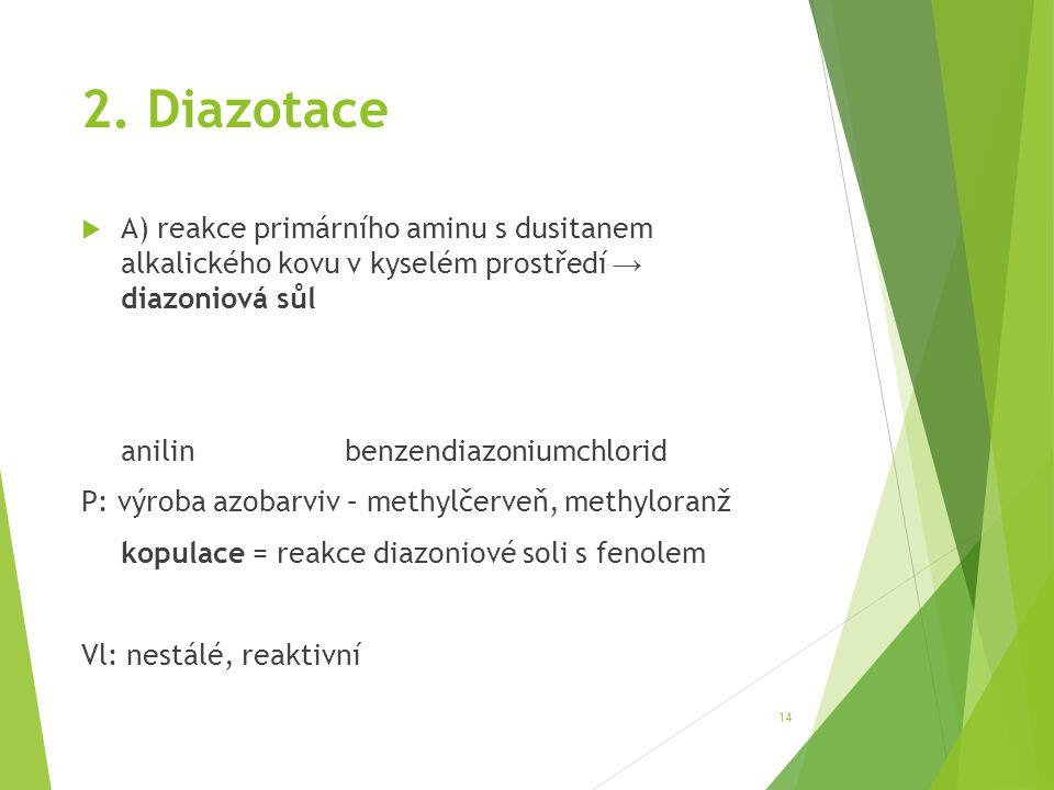 2. Diazotace A) reakce primárního aminu s dusitanem alkalického kovu v kyselém prostředí → diazoniová sůl.