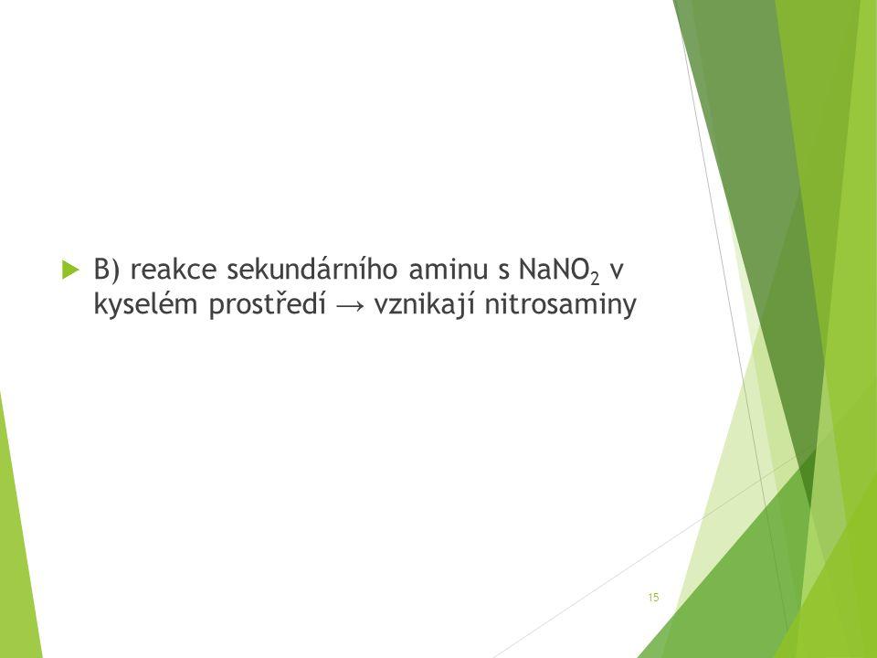 B) reakce sekundárního aminu s NaNO2 v kyselém prostředí → vznikají nitrosaminy