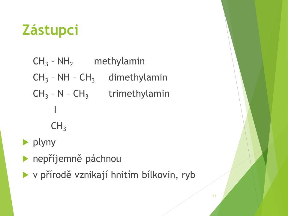 Zástupci CH3 – NH2 methylamin CH3 – NH – CH3 dimethylamin