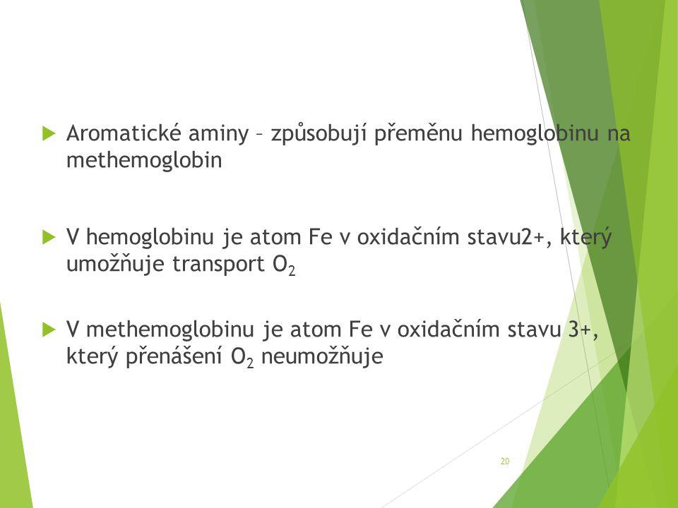 Aromatické aminy – způsobují přeměnu hemoglobinu na methemoglobin