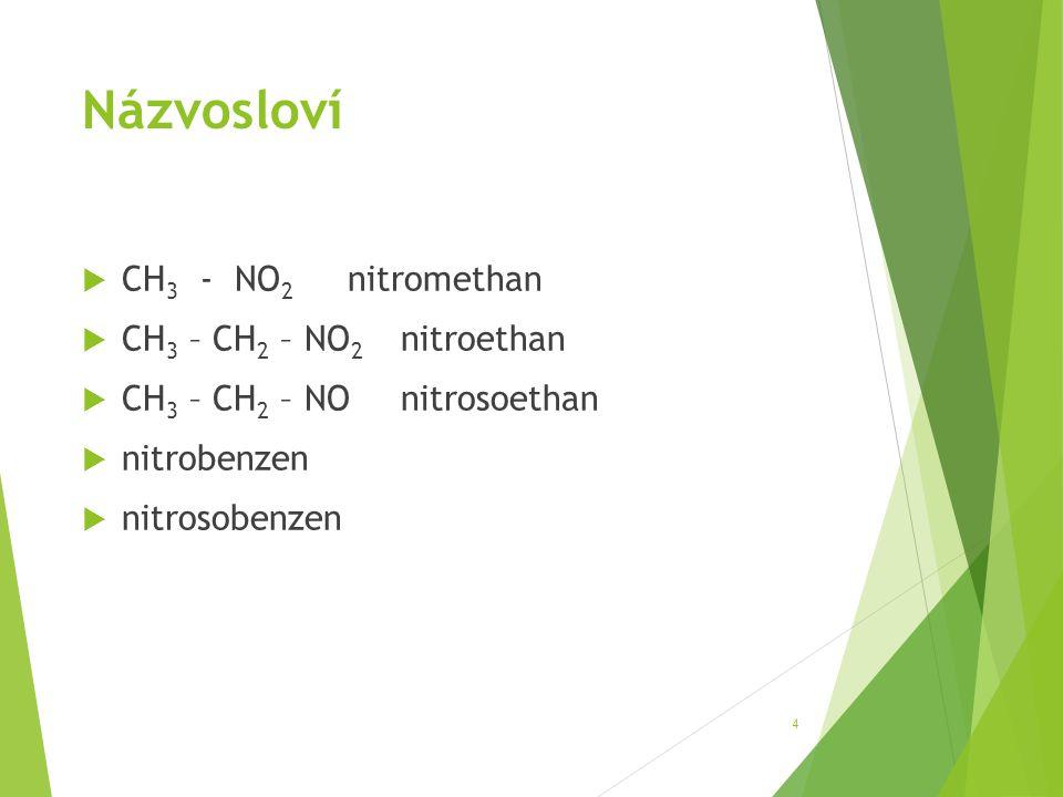 Názvosloví CH3 - NO2 nitromethan CH3 – CH2 – NO2 nitroethan