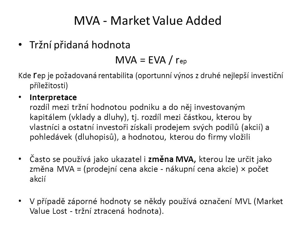 MVA - Market Value Added