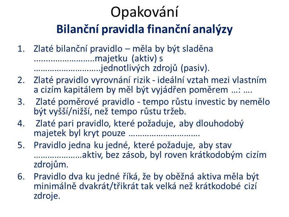Opakování Bilanční pravidla finanční analýzy