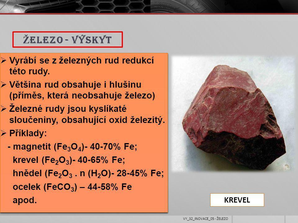 Železo - výskyt Vyrábí se z železných rud redukcí této rudy.