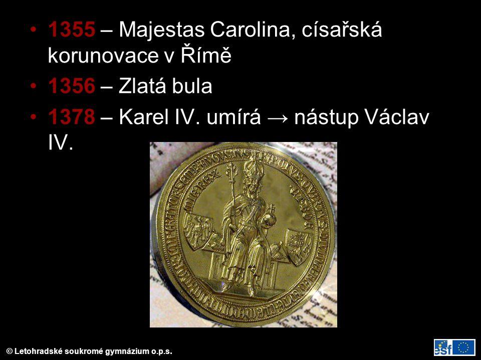 1355 – Majestas Carolina, císařská korunovace v Římě
