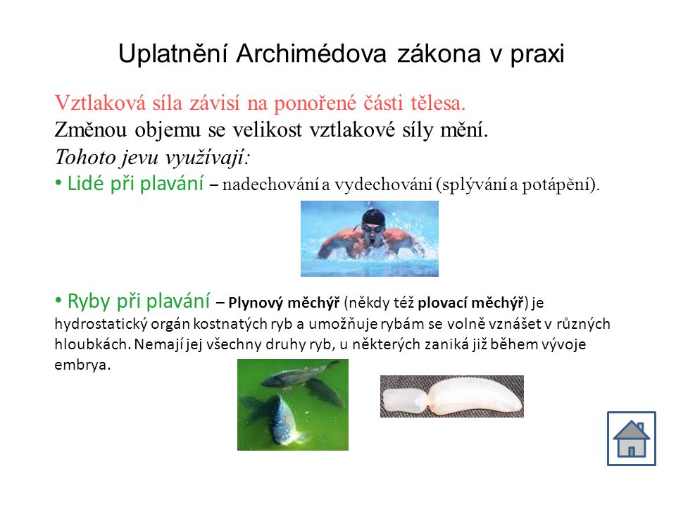 Uplatnění Archimédova zákona v praxi