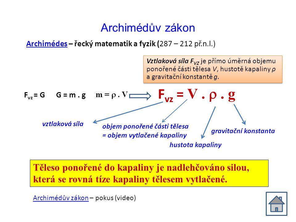 Fvz = V .  . g Archimédův zákon