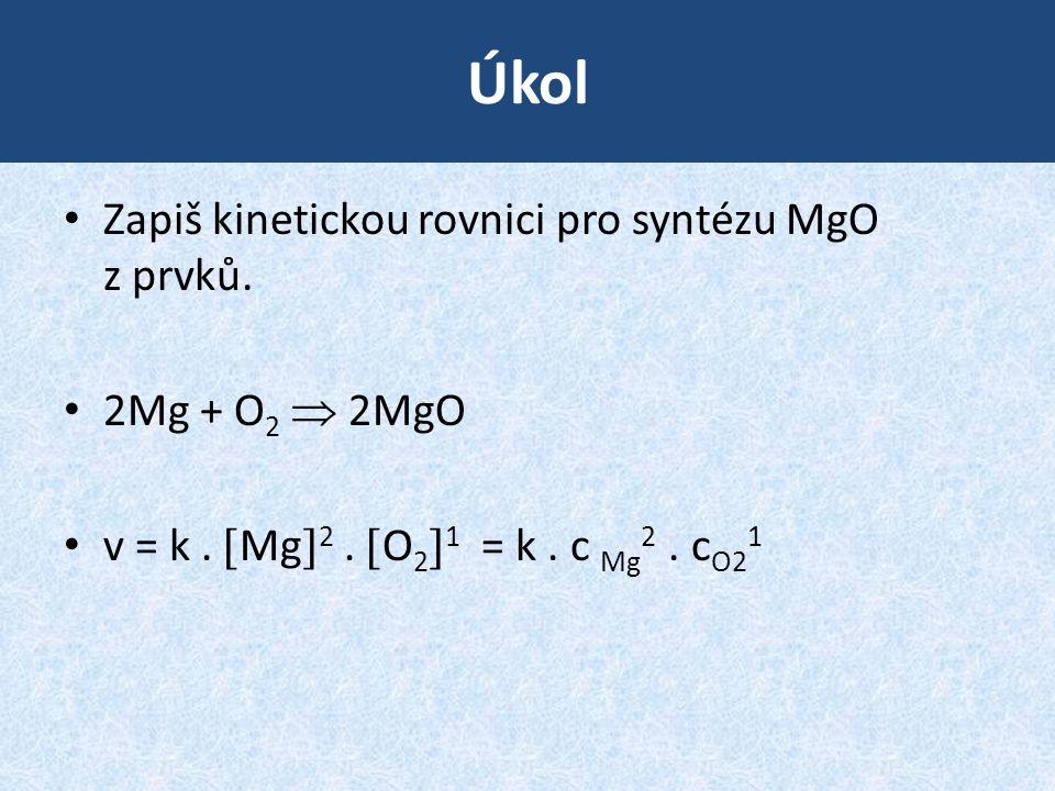 Úkol Zapiš kinetickou rovnici pro syntézu MgO z prvků. 2Mg + O2  2MgO