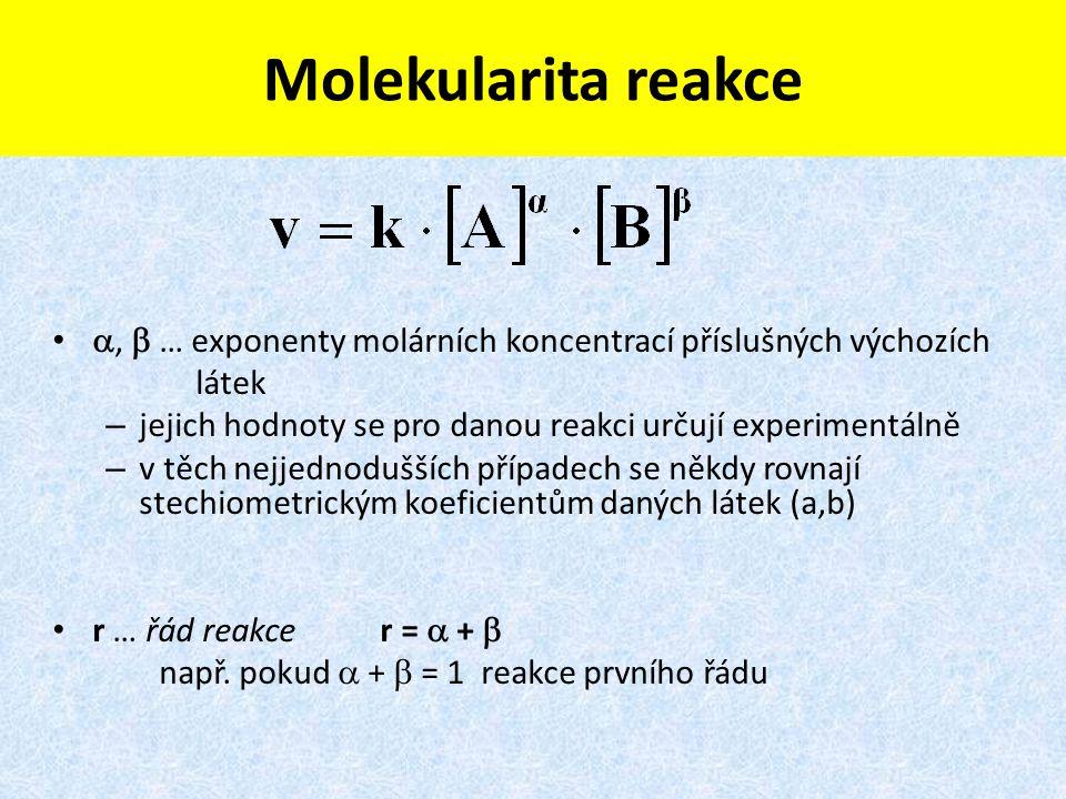 Molekularita reakce ,  … exponenty molárních koncentrací příslušných výchozích. látek. jejich hodnoty se pro danou reakci určují experimentálně.