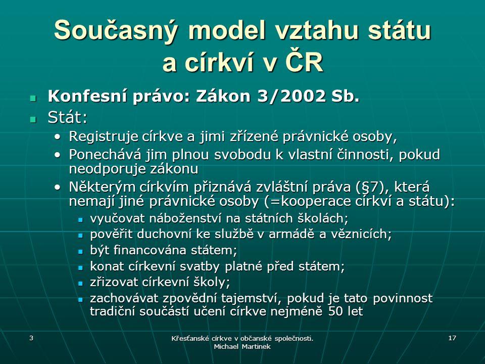 Současný model vztahu státu a církví v ČR