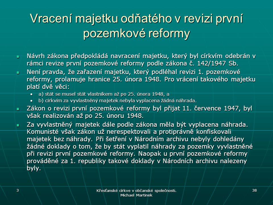 Vracení majetku odňatého v revizi první pozemkové reformy