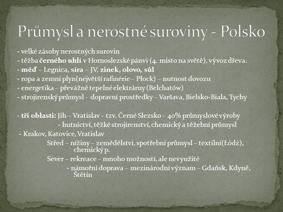 Průmysl a nerostné suroviny - Polsko