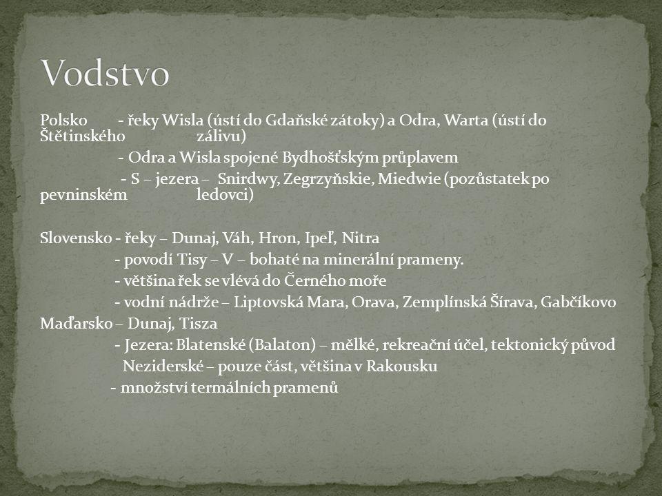 Vodstvo Polsko - řeky Wisla (ústí do Gdaňské zátoky) a Odra, Warta (ústí do Štětinského zálivu)