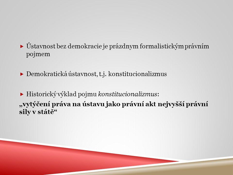 Ústavnost bez demokracie je prázdnym formalistickým právním pojmem