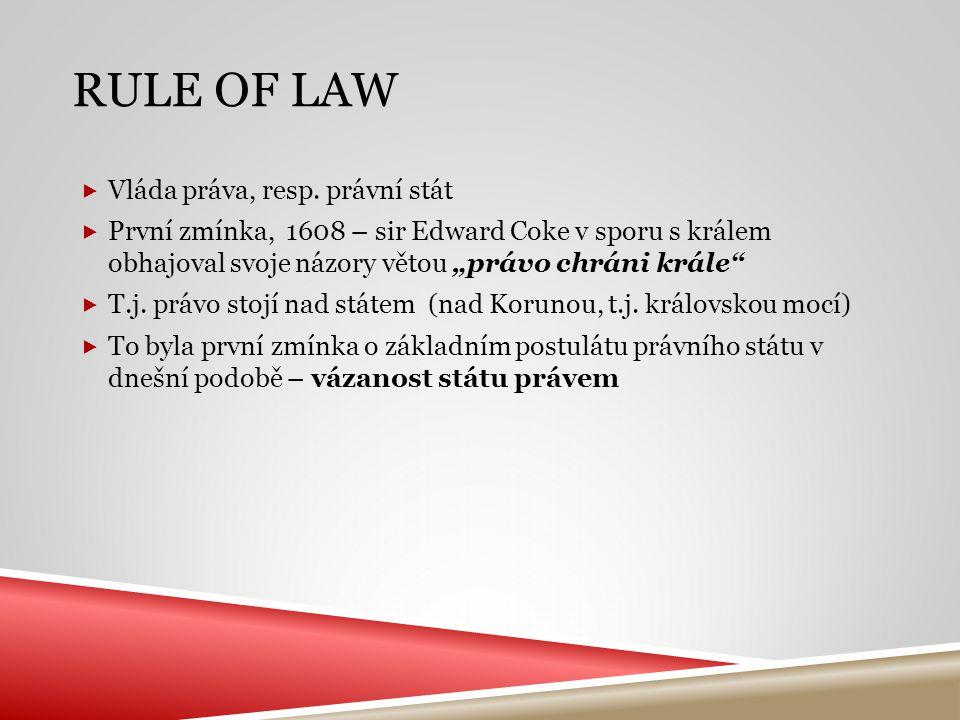 Rule of law Vláda práva, resp. právní stát