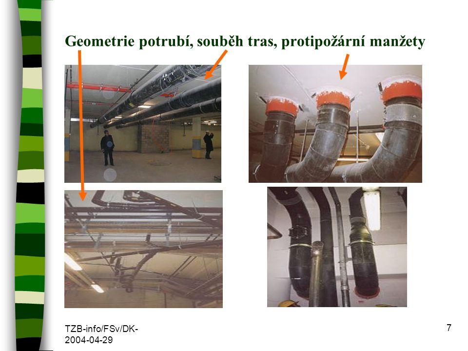 Geometrie potrubí, souběh tras, protipožární manžety