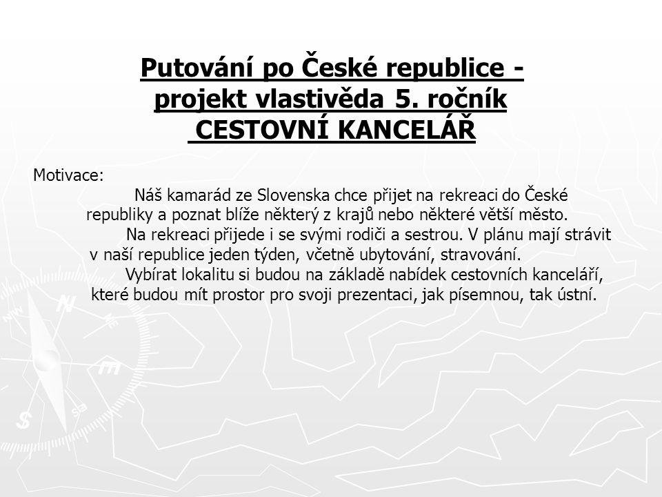 Putování po České republice - projekt vlastivěda 5. ročník
