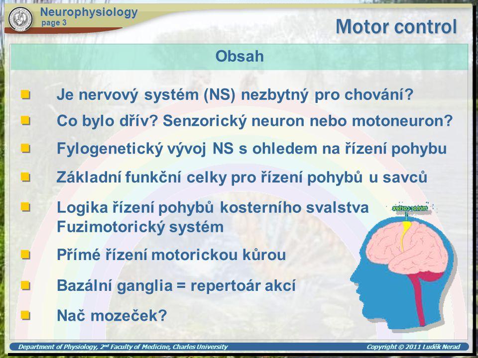 Motor control Obsah Je nervový systém (NS) nezbytný pro chování