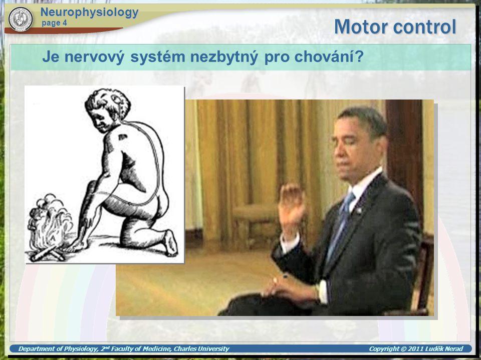 Motor control Je nervový systém nezbytný pro chování Neurophysiology