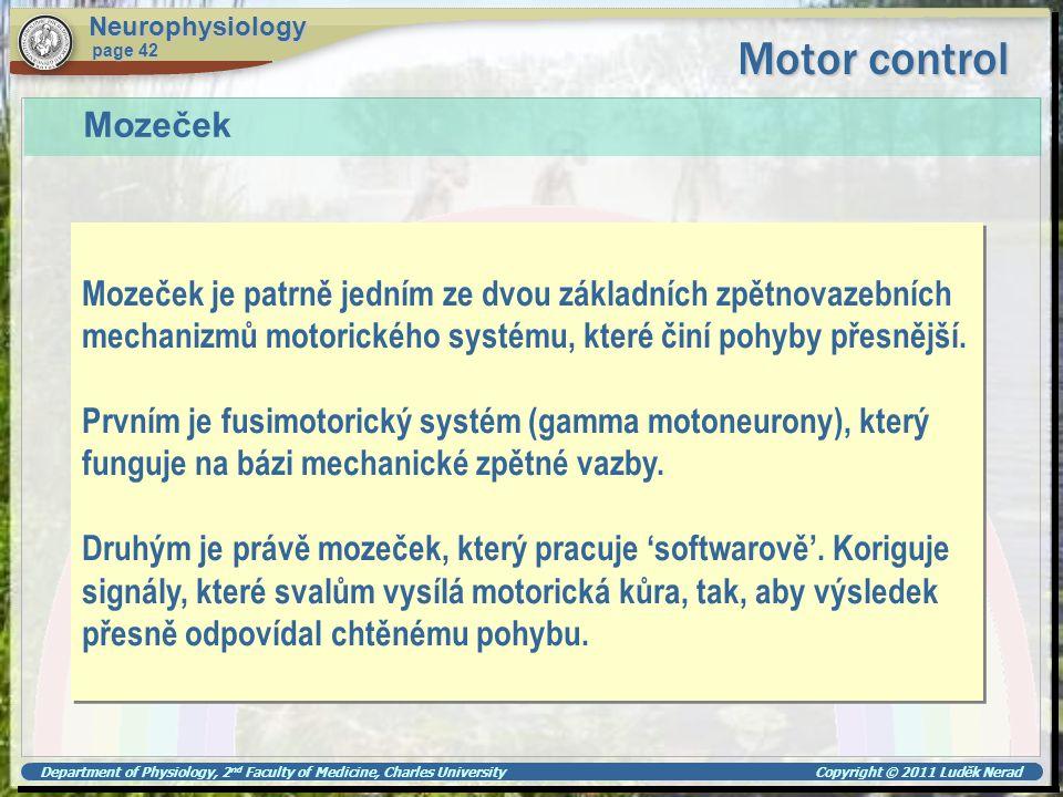 Neurophysiology Motor control. page 42. Mozeček.