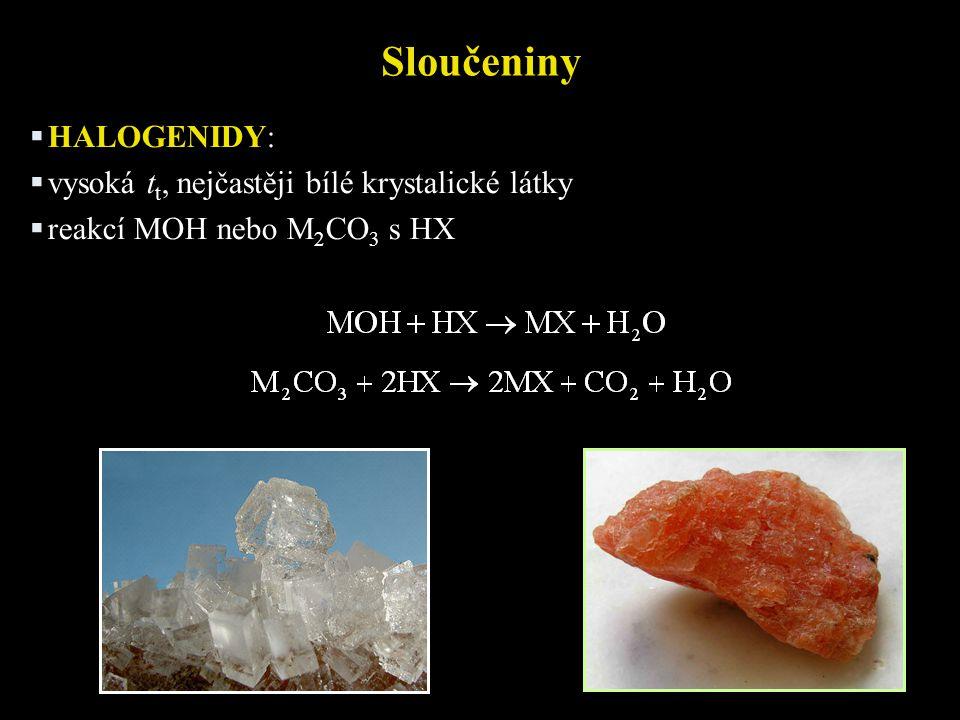 Sloučeniny HALOGENIDY: vysoká tt, nejčastěji bílé krystalické látky