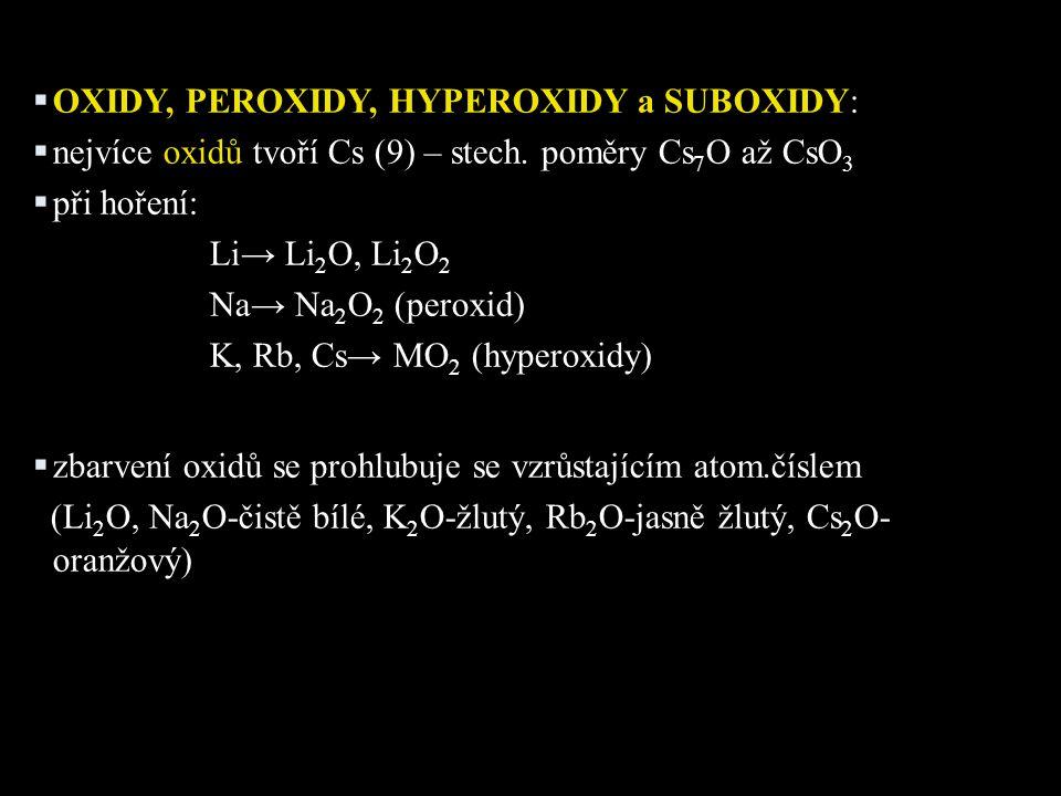 OXIDY, PEROXIDY, HYPEROXIDY a SUBOXIDY: