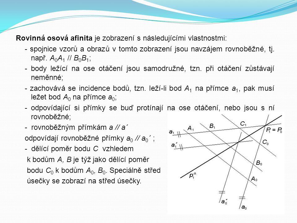 Rovinná osová afinita je zobrazení s následujícími vlastnostmi: