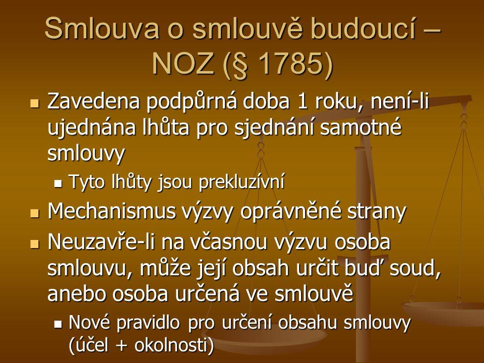 Smlouva o smlouvě budoucí – NOZ (§ 1785)