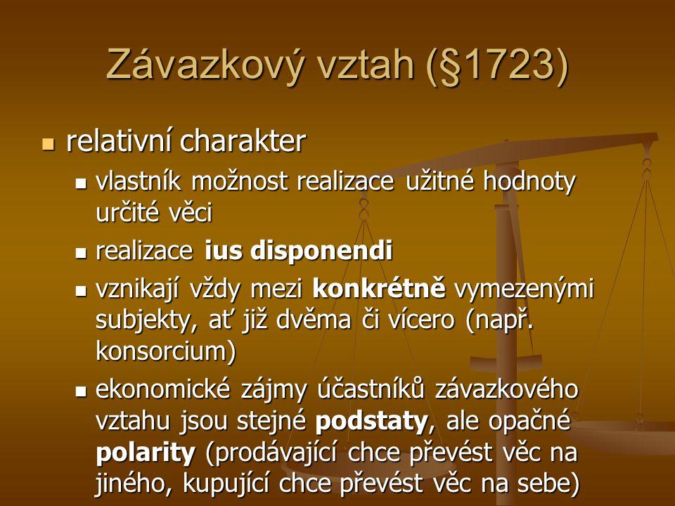 Závazkový vztah (§1723) relativní charakter