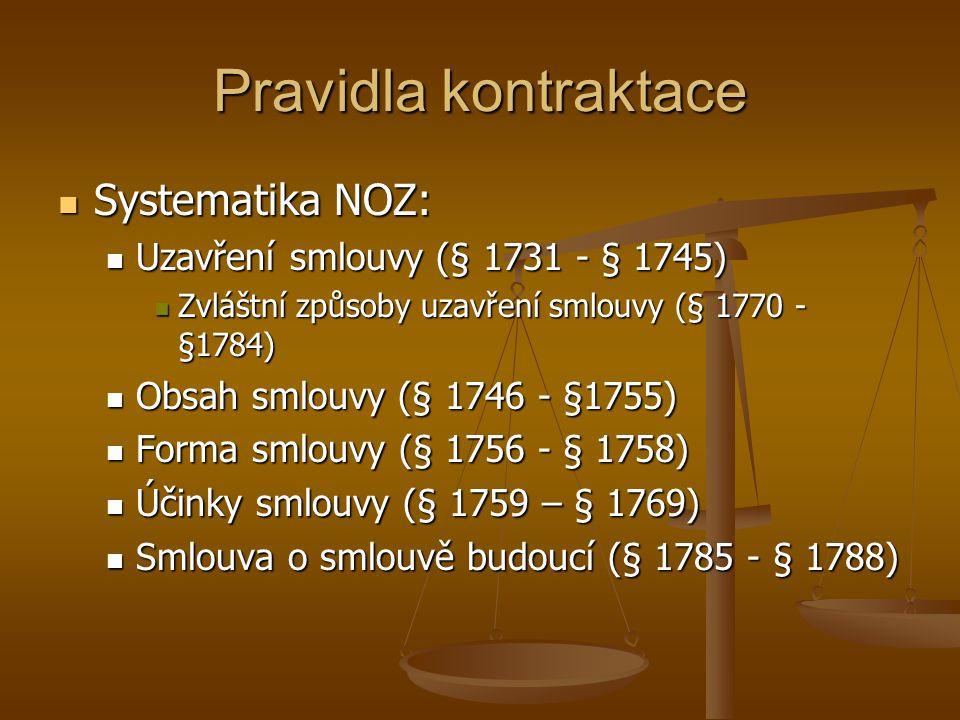 Pravidla kontraktace Systematika NOZ: