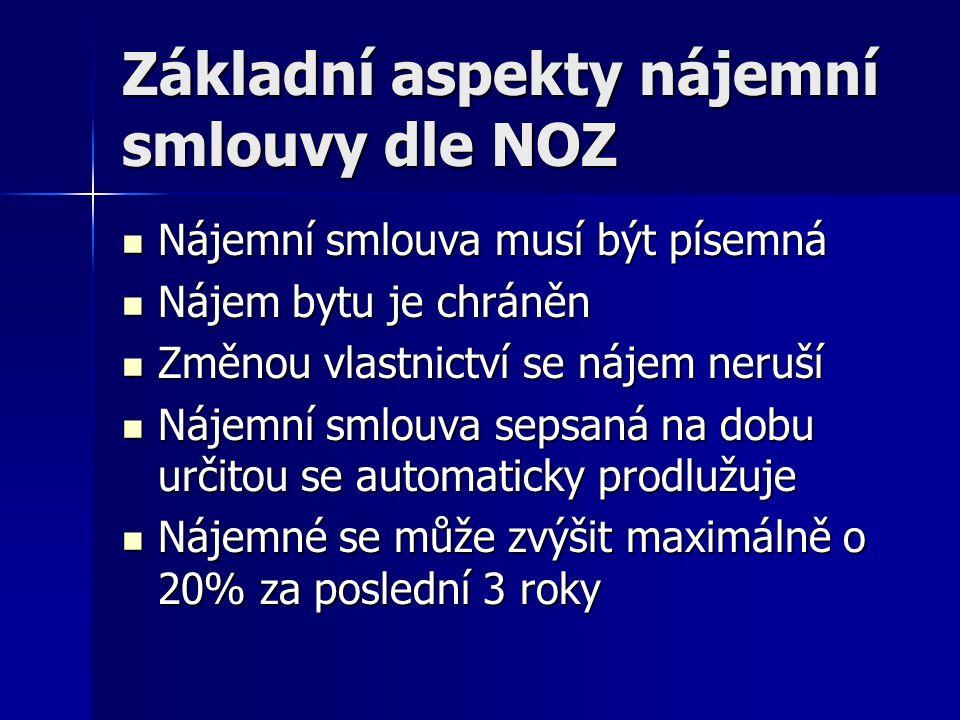 Základní aspekty nájemní smlouvy dle NOZ