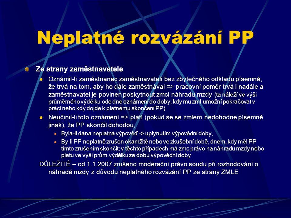 Neplatné rozvázání PP Ze strany zaměstnavatele