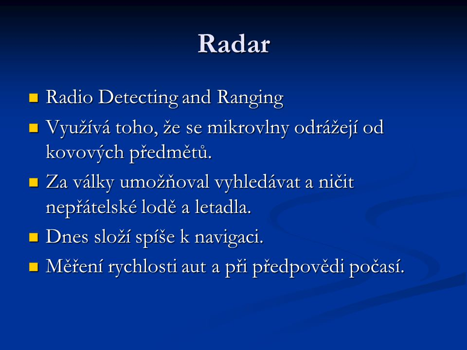 Radar Radio Detecting and Ranging