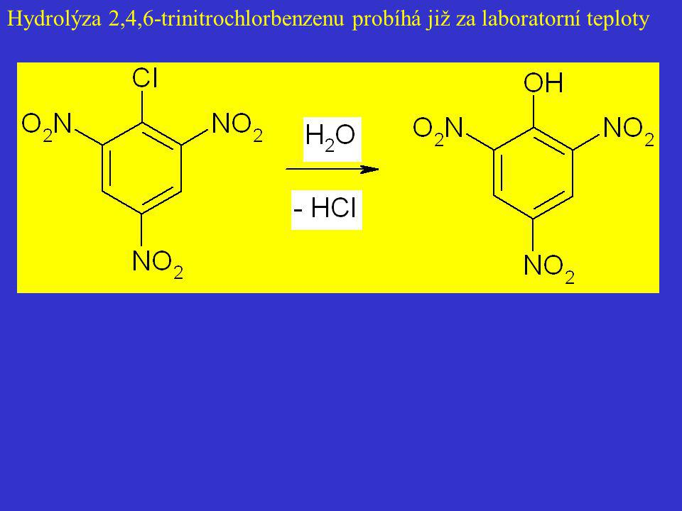 Hydrolýza 2,4,6-trinitrochlorbenzenu probíhá již za laboratorní teploty