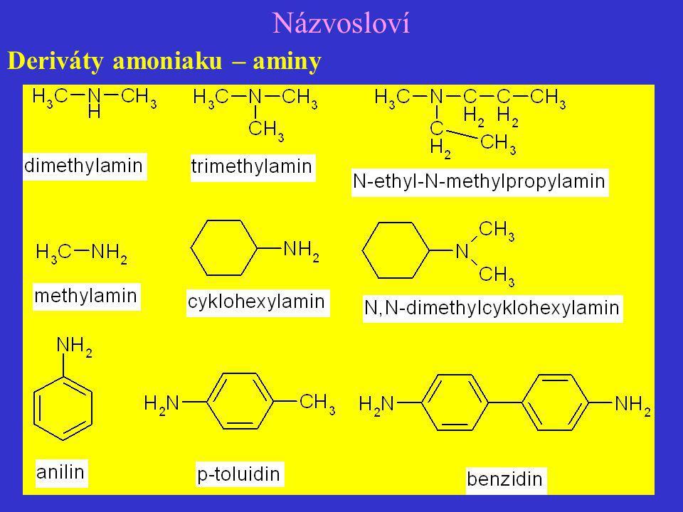 Názvosloví Deriváty amoniaku – aminy