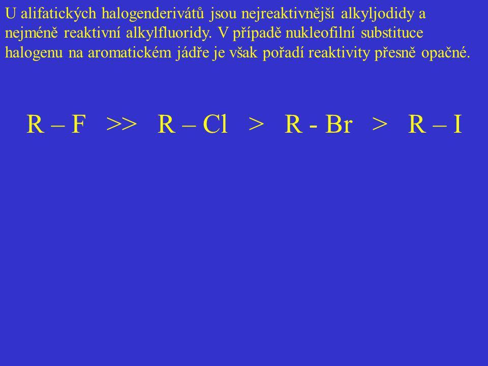 R – F >> R – Cl > R - Br > R – I