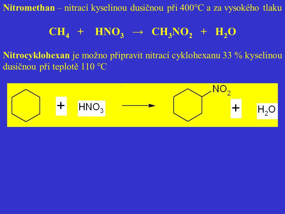 Nitromethan – nitrací kyselinou dusičnou při 400°C a za vysokého tlaku