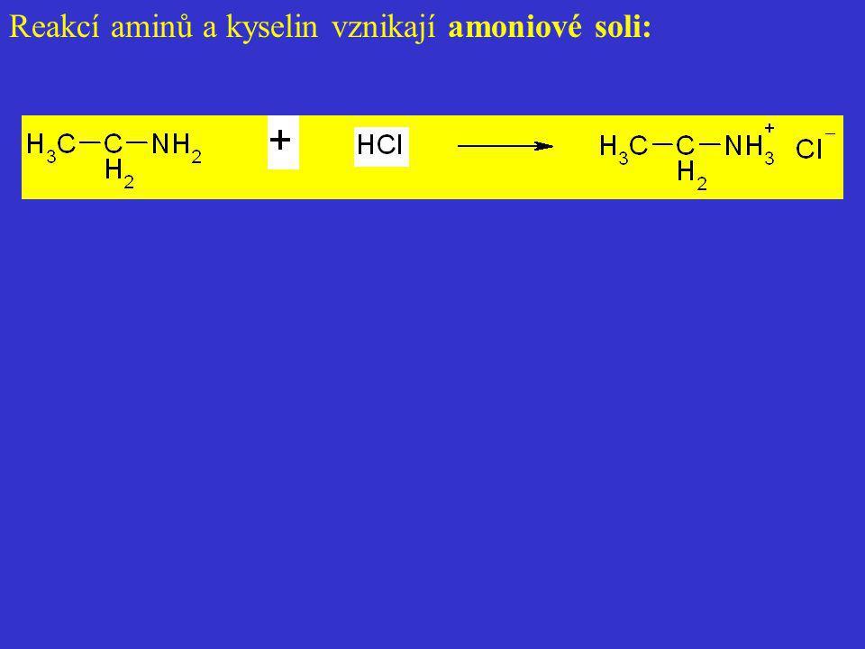 Reakcí aminů a kyselin vznikají amoniové soli:
