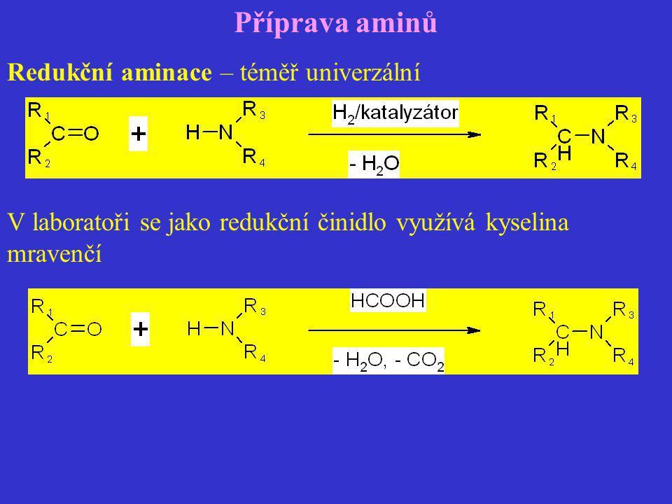 Příprava aminů Redukční aminace – téměř univerzální