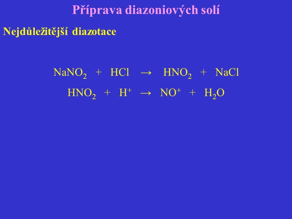Příprava diazoniových solí