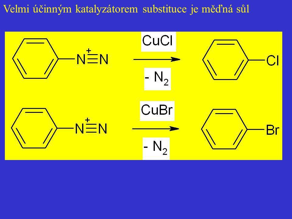 Velmi účinným katalyzátorem substituce je měďná sůl
