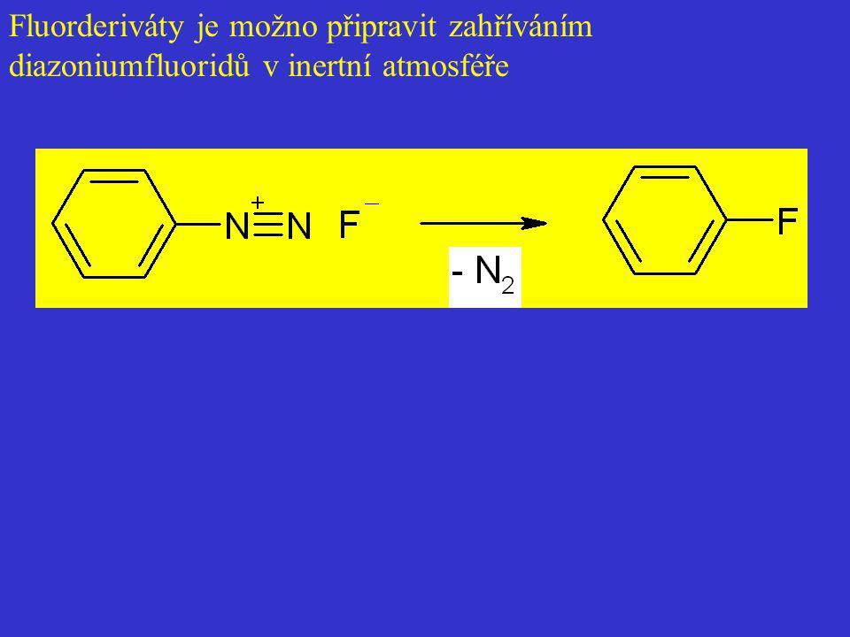 Fluorderiváty je možno připravit zahříváním diazoniumfluoridů v inertní atmosféře