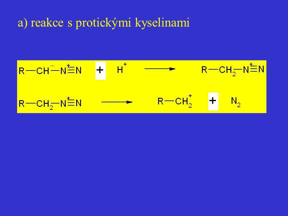 a) reakce s protickými kyselinami