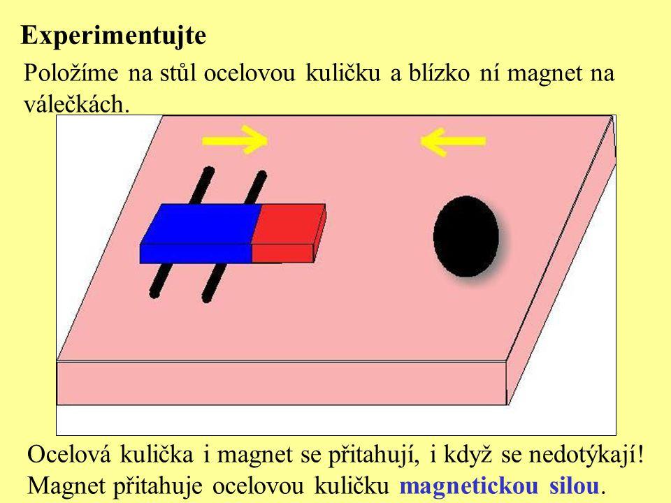 Experimentujte Položíme na stůl ocelovou kuličku a blízko ní magnet na
