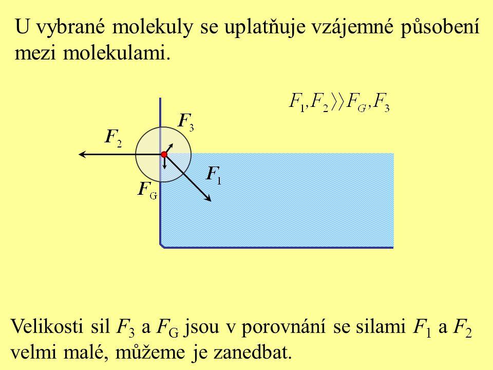 U vybrané molekuly se uplatňuje vzájemné působení mezi molekulami.