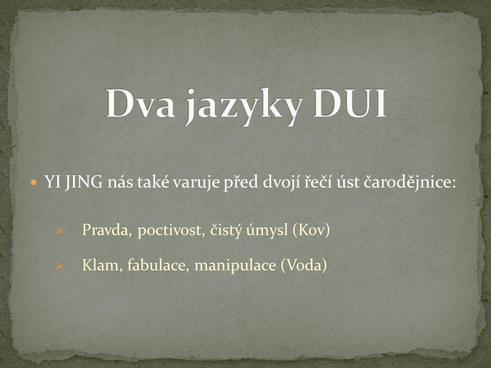 Dva jazyky DUI YI JING nás také varuje před dvojí řečí úst čarodějnice: Pravda, poctivost, čistý úmysl (Kov)