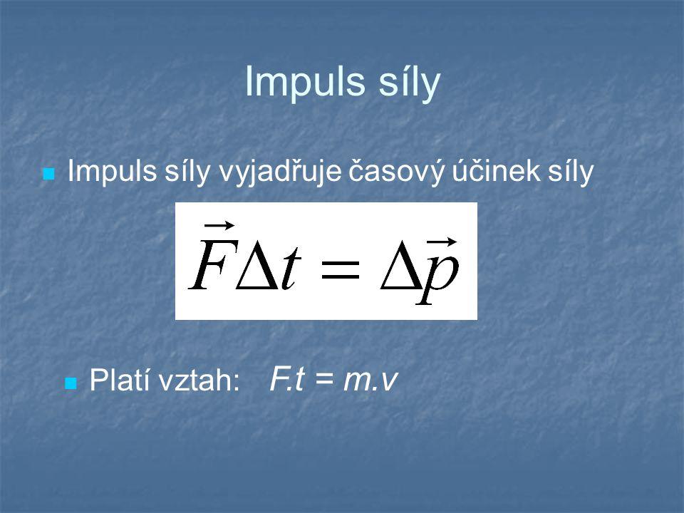Impuls síly Impuls síly vyjadřuje časový účinek síly