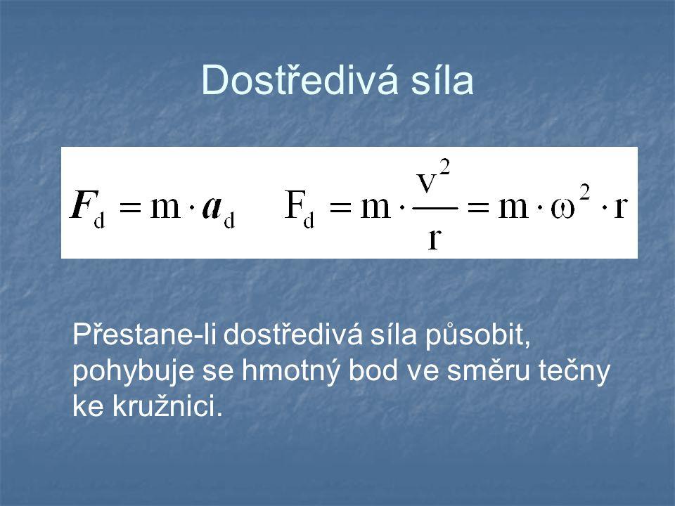 Dostředivá síla Přestane-li dostředivá síla působit, pohybuje se hmotný bod ve směru tečny ke kružnici.