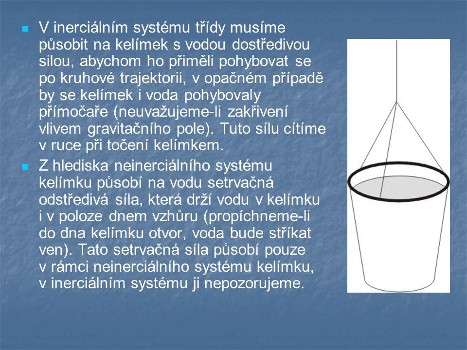 V inerciálním systému třídy musíme působit na kelímek s vodou dostředivou silou, abychom ho přiměli pohybovat se po kruhové trajektorii, v opačném případě by se kelímek i voda pohybovaly přímočaře (neuvažujeme-li zakřivení vlivem gravitačního pole). Tuto sílu cítíme v ruce při točení kelímkem.